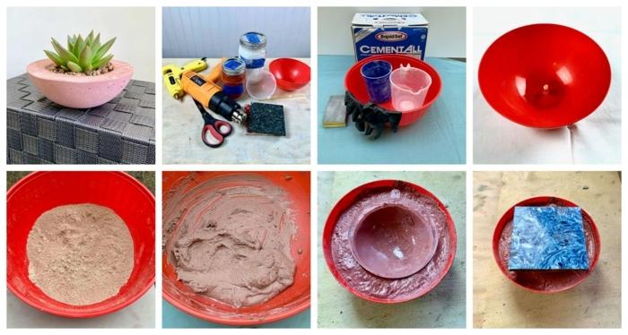 pinker Pflanzhalter DIY Anleitung Schritt für Schritt, Bastelbedarf zum Anfertigen, Pflanzentröge aus Beton selber machen