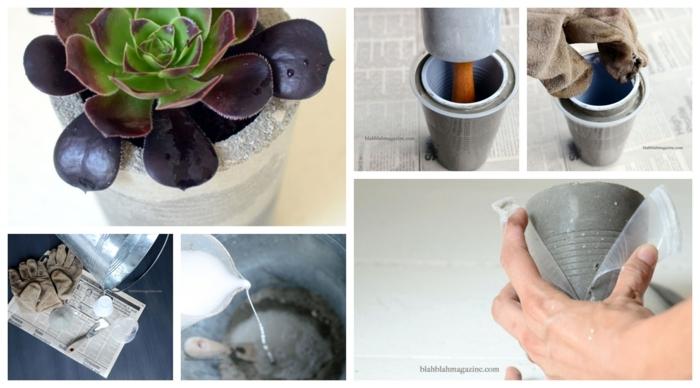 kleiner Pflanzer aus Beton mit einem Kaktus, DIY Anleitung zum Anfertigen, Becher aus Plastik gefüllt mit Beton