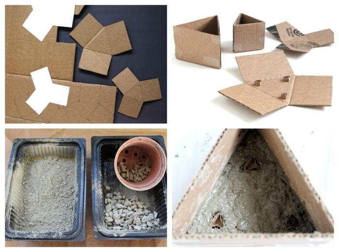 Pflanzbehälter aus Karton und Beton selbst machen, Blumenübertöpfe für Innen, DIY Anleitung