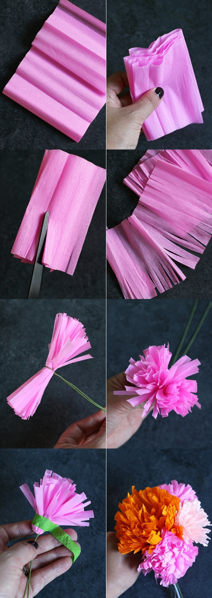 rosa Blume aus papier für Buchsbaumkranz basteln, DIY Anleitung, Wanddeko Ideen selber machen