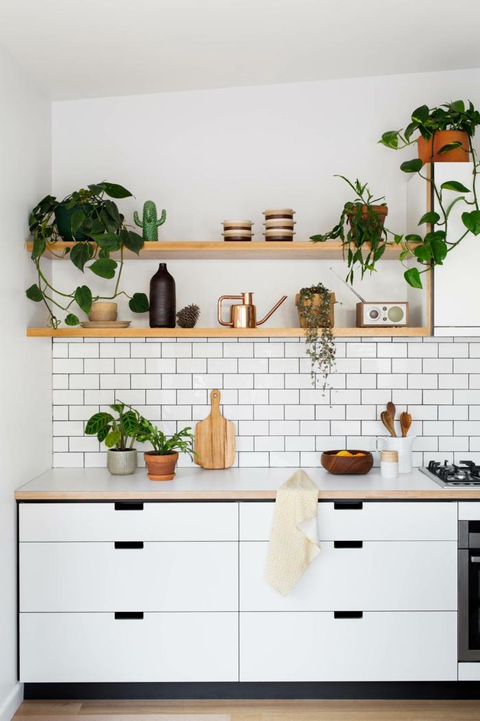 Küche dekorieren Tipps, weiße Fliesen und Schränke, Regale mit grünen Pflanzen und Küchenutensilien