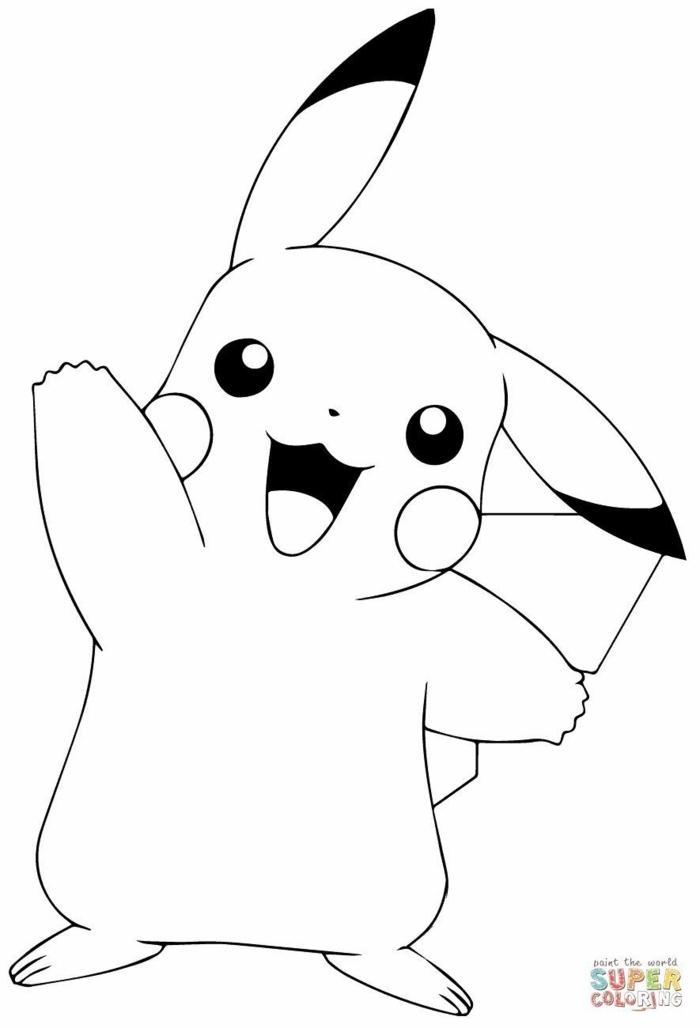 schöne Bilder zum nachmalen, Pokemon Pikachu winkt mit der Hand, Bilder zum ausmalen,