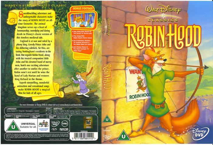 eine hase mit gelbem hut mit roten federn, poster zu dem animationsfilm robin hood, ein fuchs mit einem gelben hut und einem bogen und pfeil
