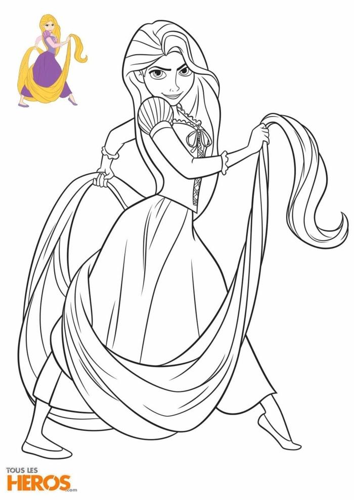 Mädchen mit sehr langen Haaren, Ausmalbilder Disney Prinzessin Rapunzel, Musterbild zum ausmalen,