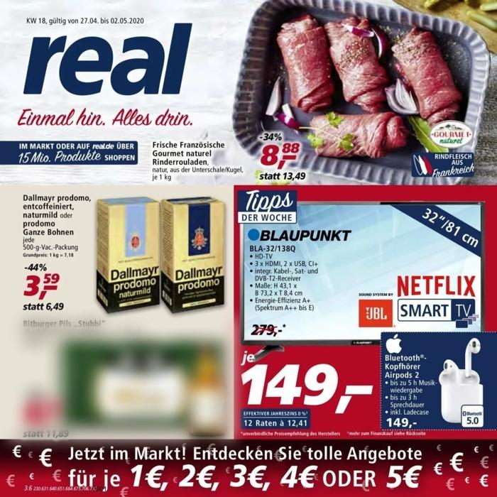 Titelseite von Prospekt von Real mit Bilder von Fleisch und Kaffee Dallmayr, Fernseher Angebot, Aktuelle Angebote von Real