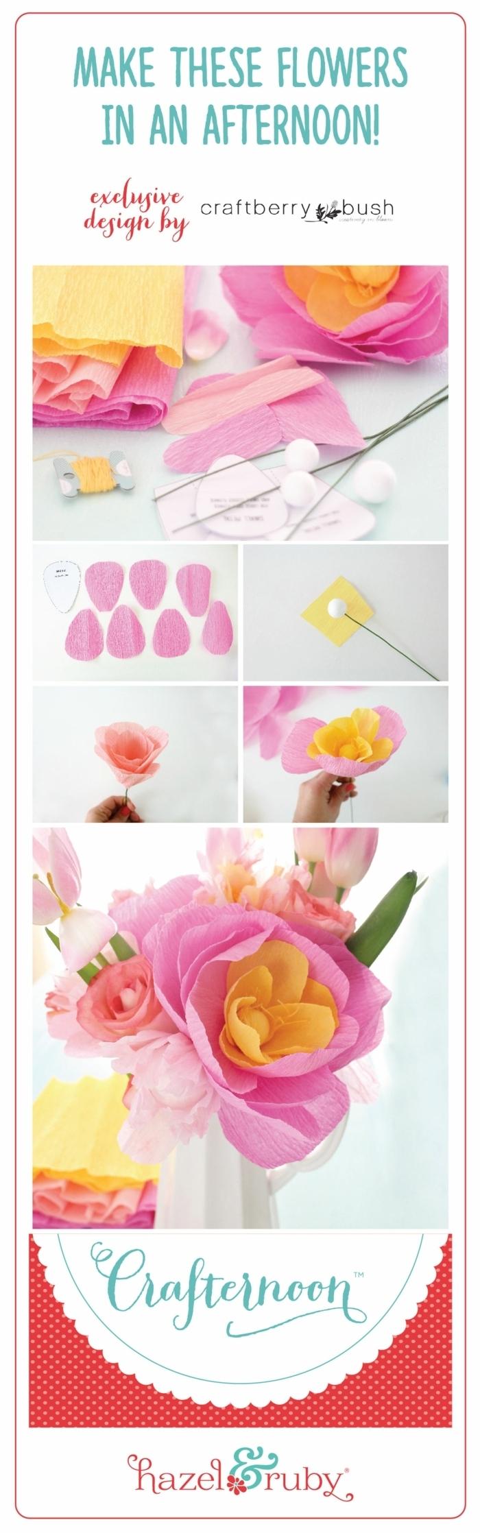 risenblumen aus kreppapier basteln, blumen selber machen ideen, diy anleitung