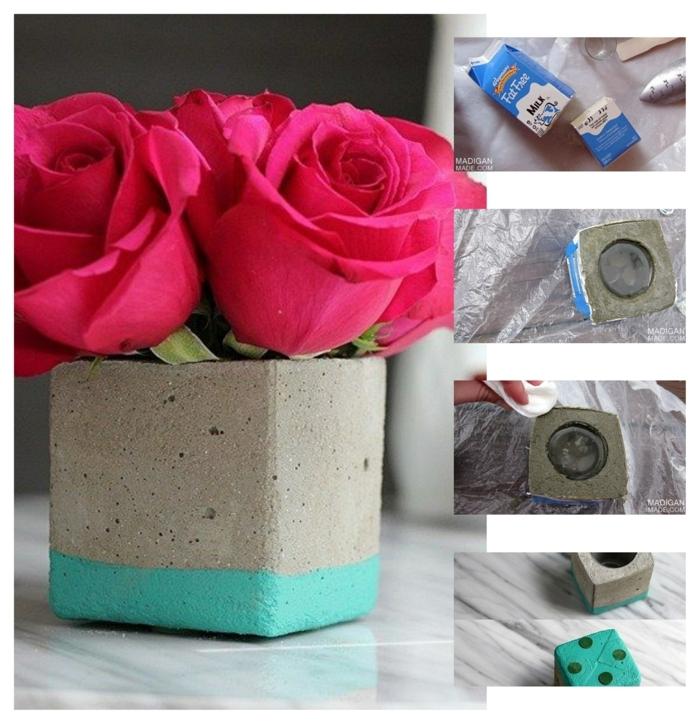 große rote Rosen in einer kleinen Vase, DIY Anleitung zum machen von Betokübel für Pflanzen