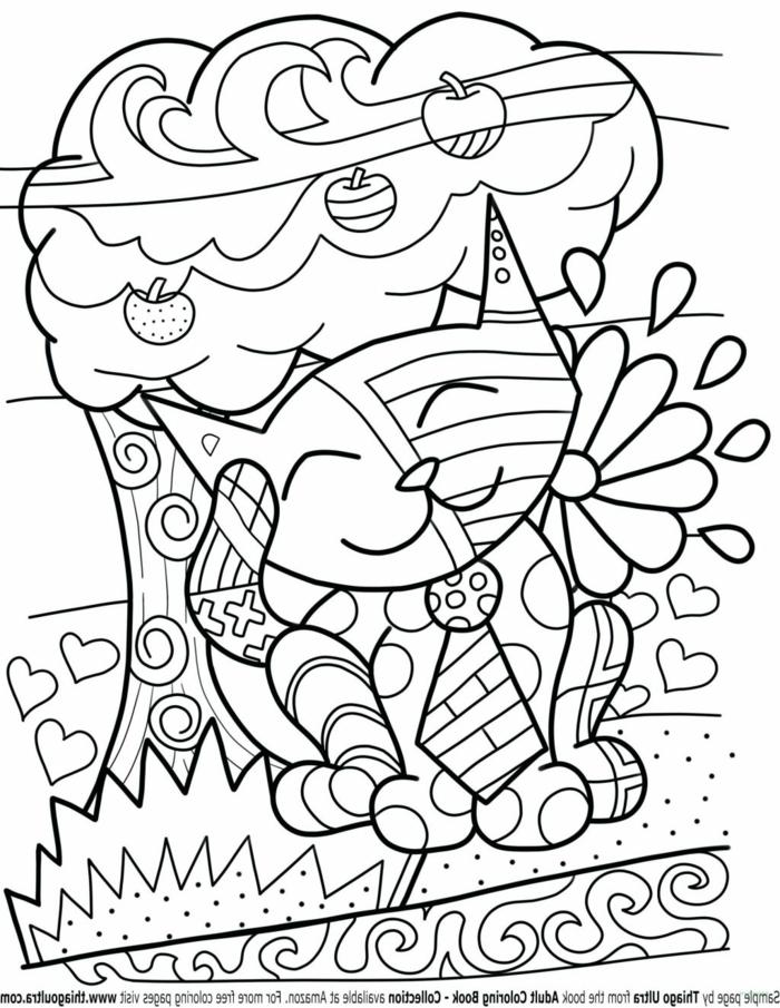 lächelnde Katze unter einem Baum mit Äpfel, Herzen und Blume auf dem Bild, Malvorlagen kostenlos