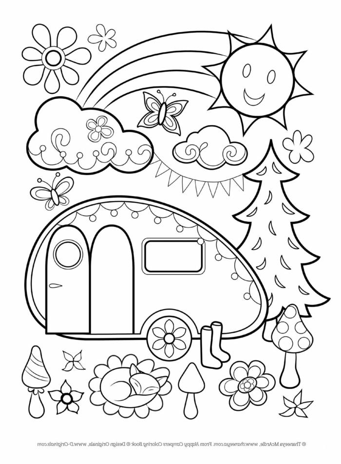 Bild mit vielen verschiedenen Figuren und Zeichnungen. lächelnde Sonne und Wolken, Fuchs und Schmetterling, ausmalbilder für Kinder