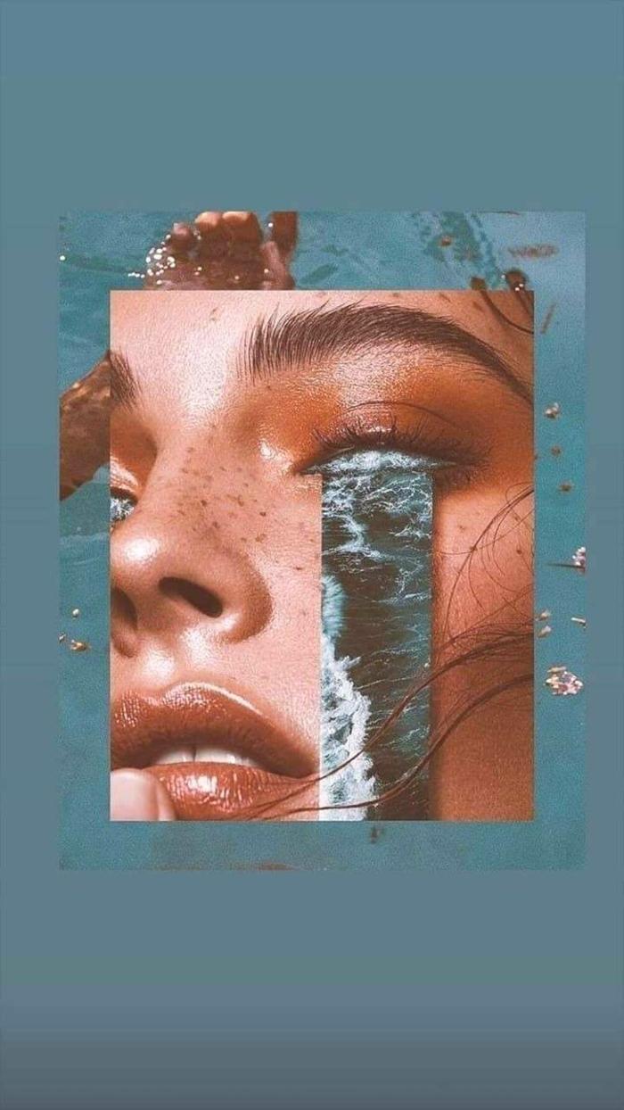 kreative Collage von einem Gesicht mit fließendem Wasser aus dem Auge, aesthetic iphone wallpaper
