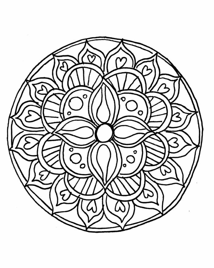 Mandalas für Kinder, zahlreiche verschiedene Figuren, Kreise und Herzen, Blume in der Mitte