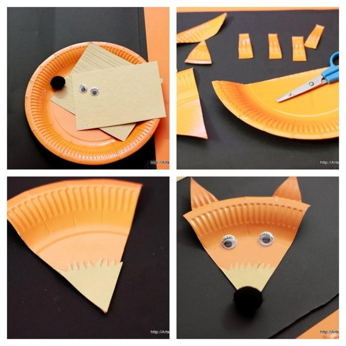 Bastelbedarf und DIY Anleitug zum Fuchs basteln mit Kindern aus Pappteller, Bastelideen für Kinder