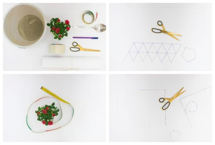Blumenkübel selber bauen beton, Bastelbedarf zur DIY Anleitung, große Schere, Blumen mit roten Blüten