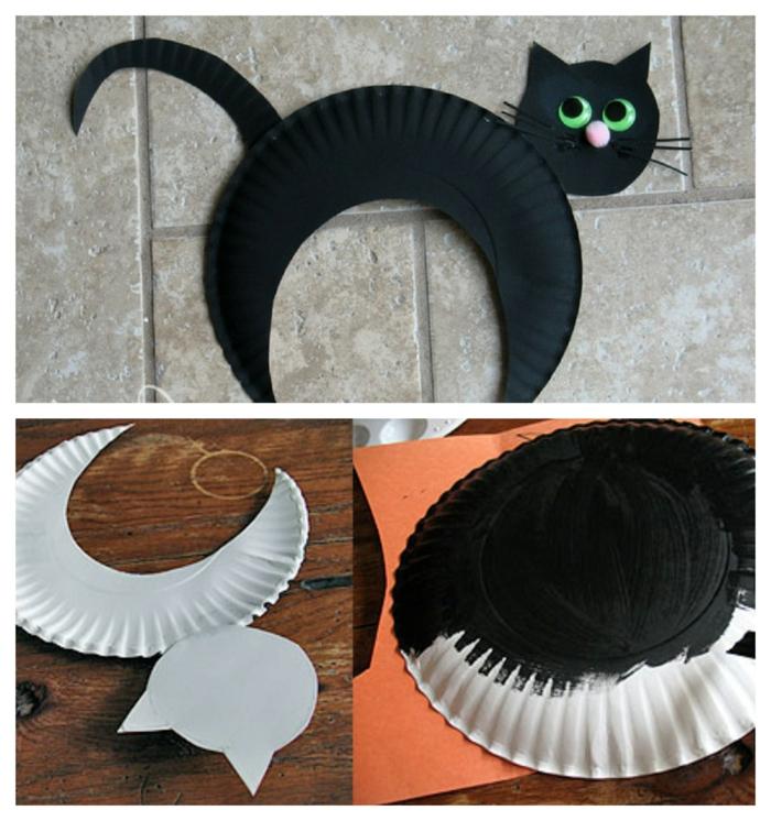 Collage von schwarzer Katze aus Teller aus Pappe und DIY Anleitung zum basteln, Herbst basteln mit Papptellern