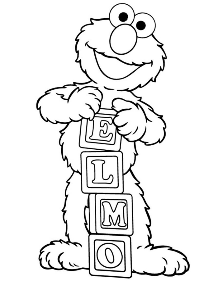 Sesamstraße Figur Baby Elmo, hält Bauklötzchen mit seinem Namen, schöne Ausmalbilder für Kinder,