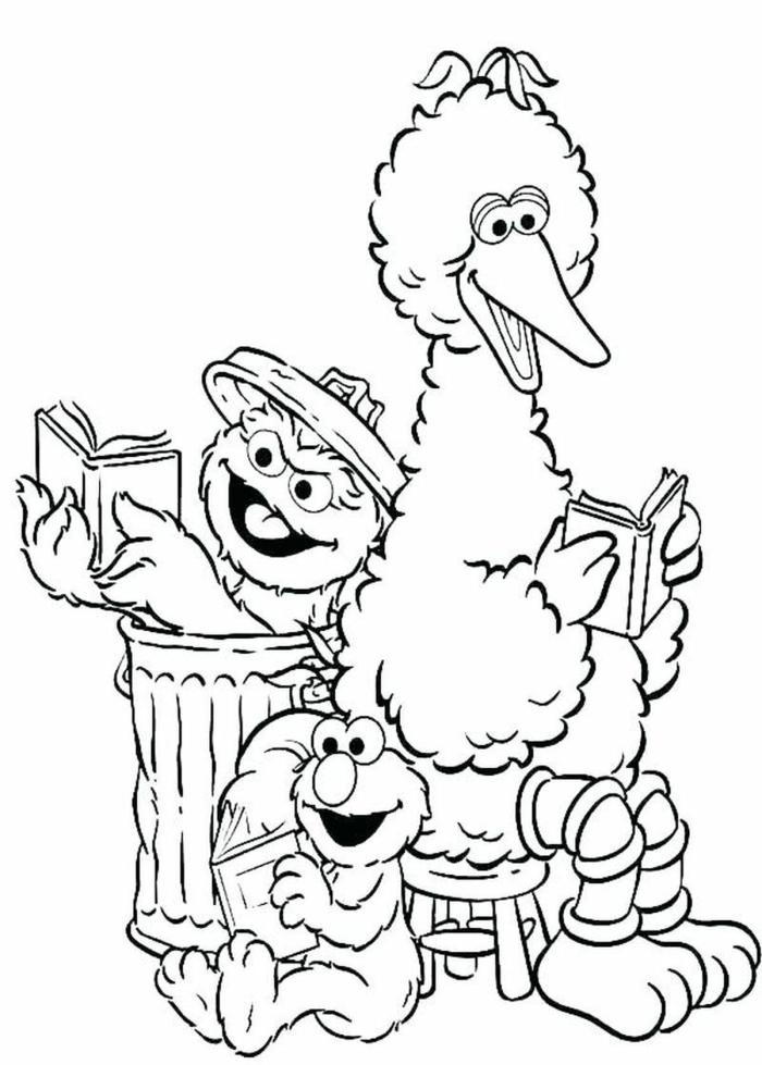 Sesamstraße Figuren lesen Bücher, Bibo Elmo und Lulatsch, Window color vorlagen, Bild zum ausmalen