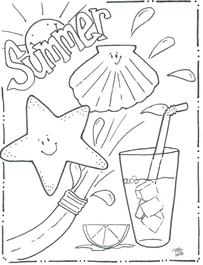 Sommer Bild mit Muschel und Seestern, Tasse gefüllt Getränk und Eiswürfel, schöne Bilder zum nachmalen