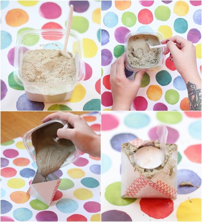 Hand mischt Beton mit Wasser in einem Becher aus Plastik und gießt es in eine Karton Schale, DIY Kerzenhalter, Gefäße aus Beton selber machen