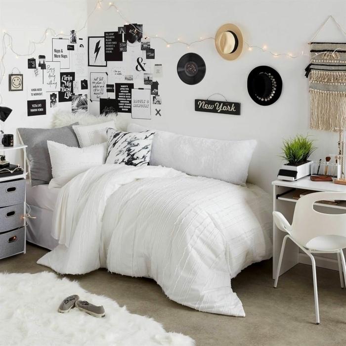 teenager zimmer ideen jungs, zimmergestaltung in weiß und grau, tumblr fotos