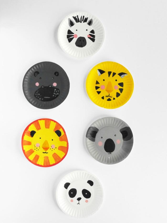 Tiere mit Pappteller basteln, Panda und Zebra, Löwe und Tiger, Koala und Hypo, DIY Ideen