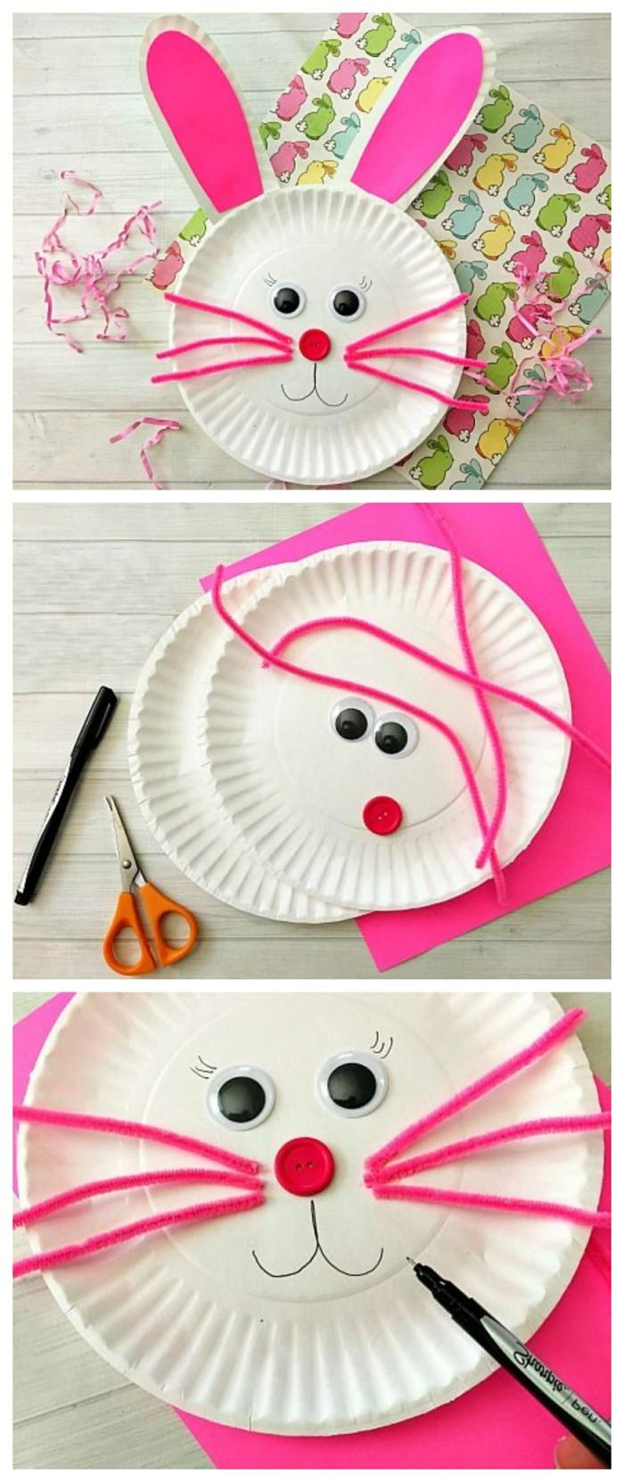 weiße Pappteller Hase basteln mit pinken Ohren und Nase aus einem Knopf, DIY Anleitung