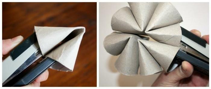 Upcycling Ideen, Blume aus Toilettenpapierrollen basteln, Deko Ideen selber machen, Rolle mit Hefter zusammenbinden