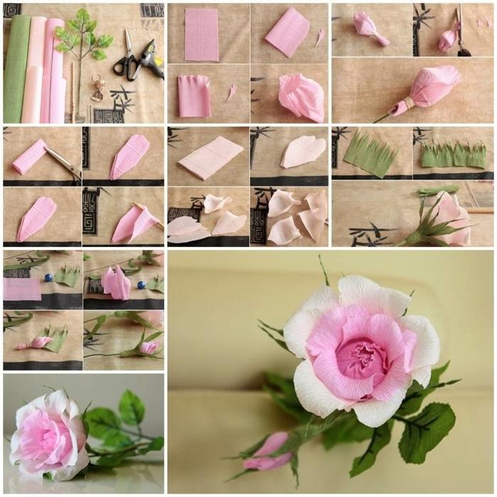 papierrosen schritt für schritt, tolle rosen aus papier schnell und einfach, papierblumen