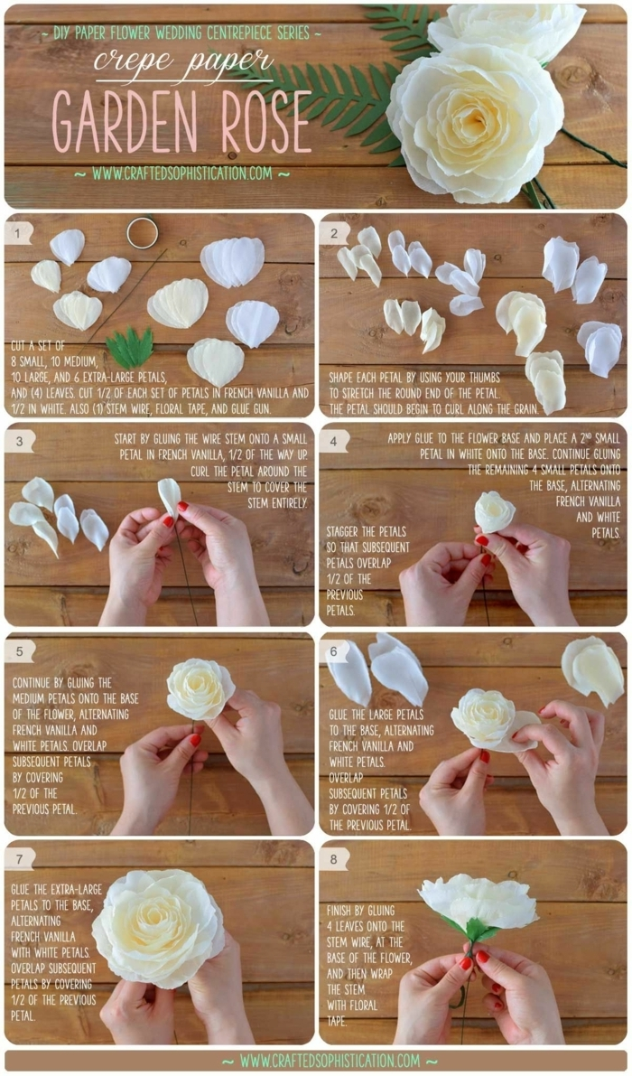 tolle rosen aus papier schnell und einfach, anleitung in wort und bild, weiße gartenrosen