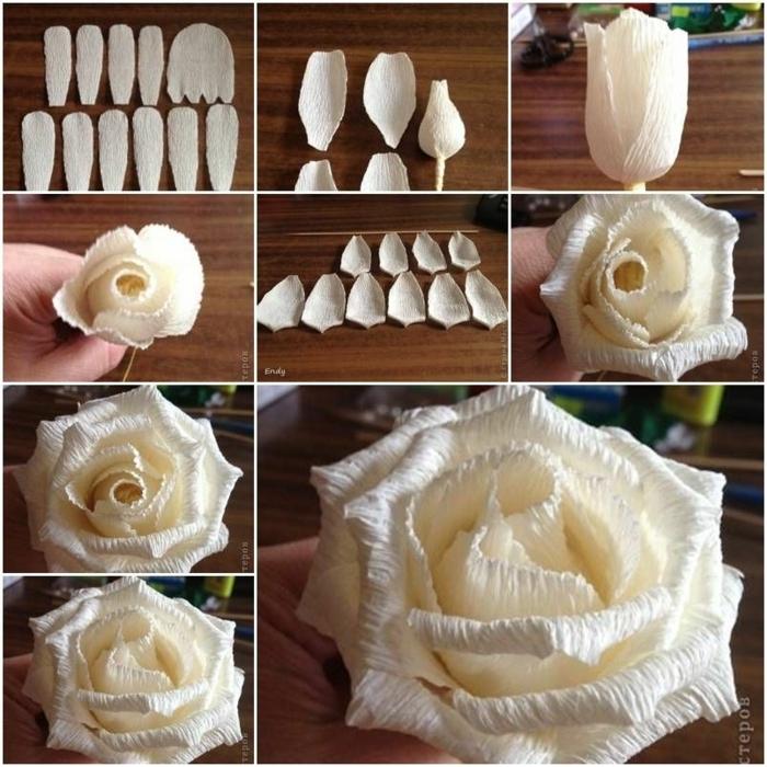 tolle rosen aus papier schnell und einfach, weiße blumen, schritt für schritt anleitung