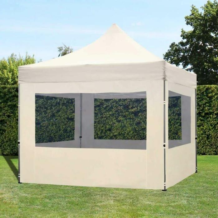 praktische Möbel für den Garten, Pavillon 3x3 wasserdicht stabil mit Seitenteilen, Faltpavillon im Garten