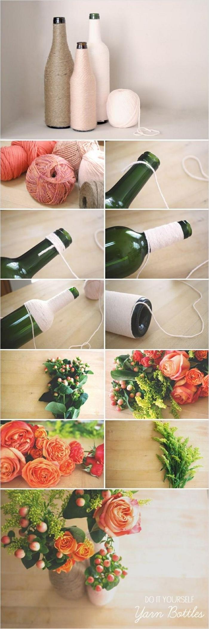 Upcycling von Glasflaschen zu Vasen, DIY Anleitung, Flasche umwickelt mit Garn, Pinterest basteln