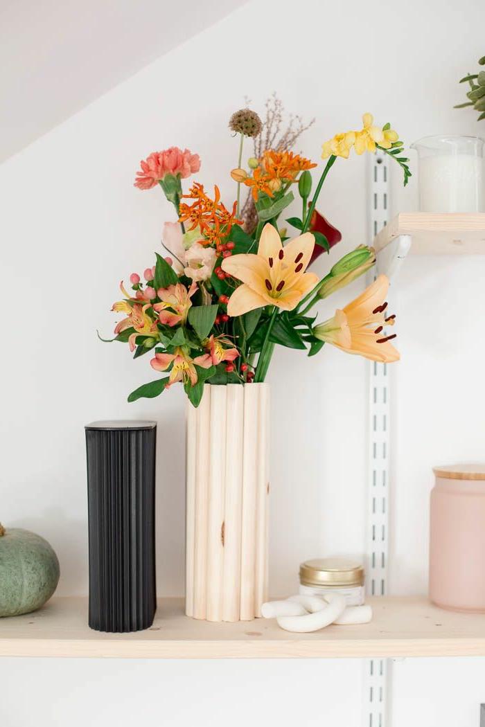 DIY Vase frühlingsdeko aus naturmaterialien selber machen, Anleitung Schritt für Schritt