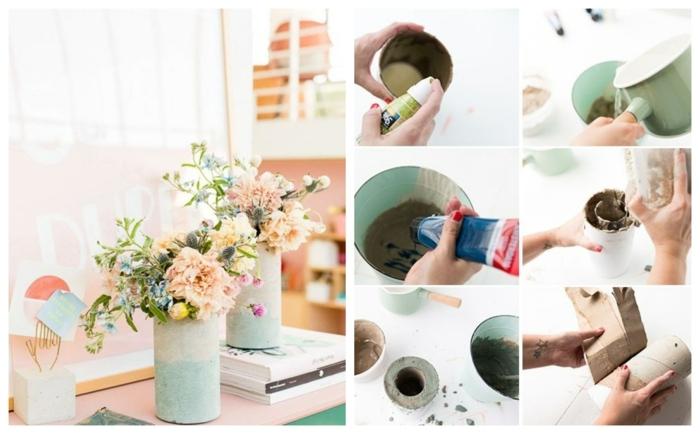 schöne in Pastellfarben mit Frühlingsblumen, DIY Anleitung zum machen, Gefäße aus Beton selber machen