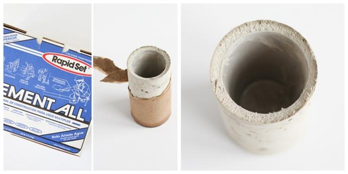Collage mit Bastelbedarf zum machen von Vase, Betonarbeiten selber machen, DIY Anleitung