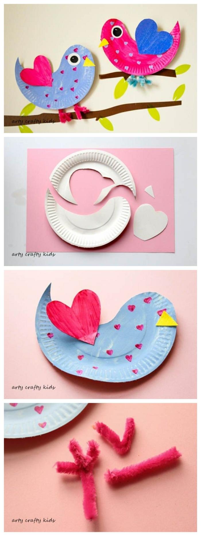 Collage mit Anleitungen zum basteln von Vögel, Tiere aus Pappteller, DIY Geschenke zum Muttertag