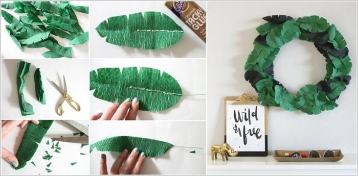 partydeko ideen, was kann man aus kreppapier basteln, diy kranz aus papierblättern