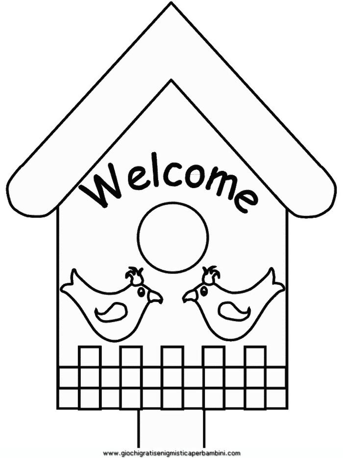 Ausmalbilder für Kinder, kleines Haus mit Welcome Aufschrift, zwei gemalte Küken,