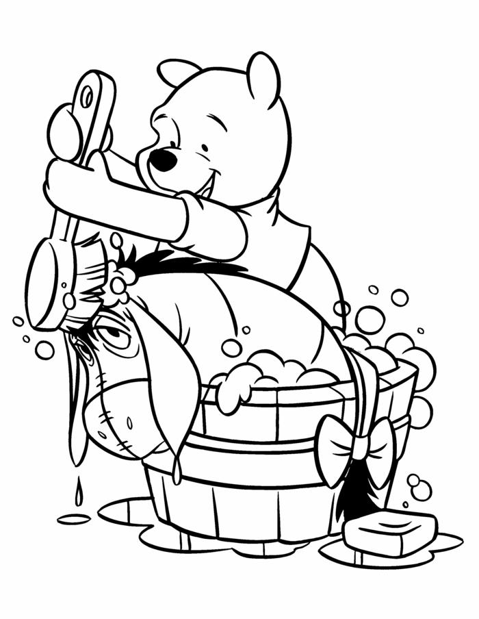 Winnieh the Pooh, Pu der Bär, Pu wäscht I-Ah in einem Becken, Ausmalbilder für Kinder