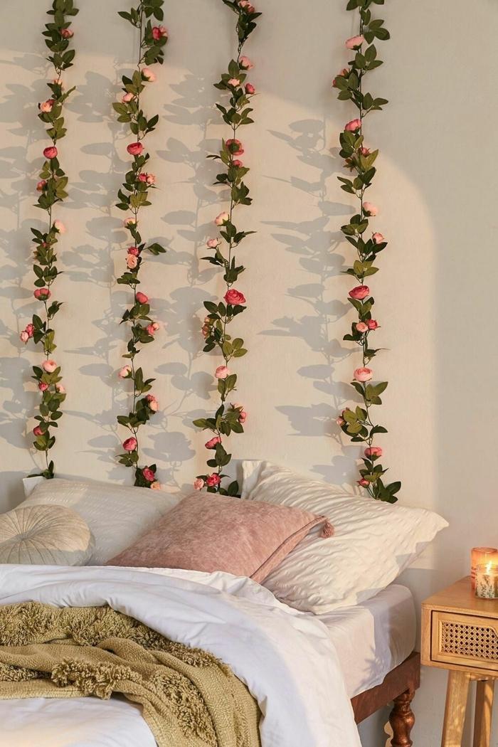 zimmer inspiration, mädchenzimmer deko ideen, schlafzimmer dekoreren, wanddeko mit blumen