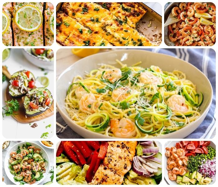 rezepte zum abnehmen abends, schnelle leckere gerichte für jeden tag, zucchininudeln mit garnelen