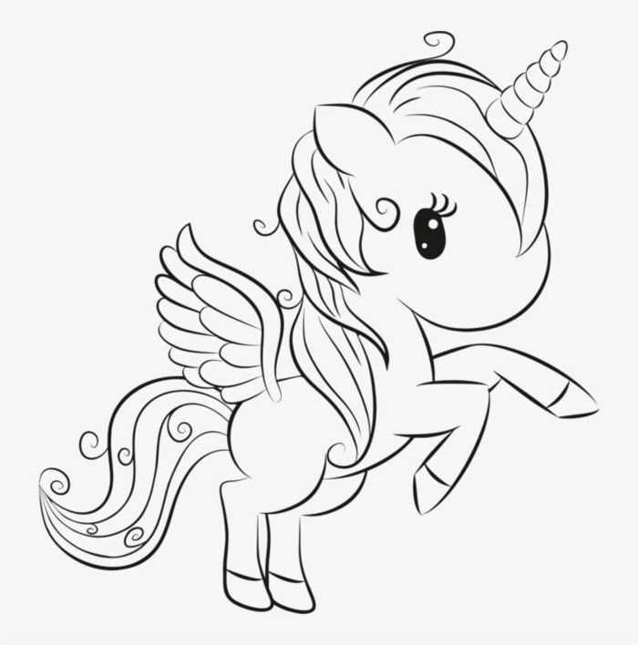 ausmalbilder einhorn, unicorn mit großem kopf und kleinen flügeln, malvorlage