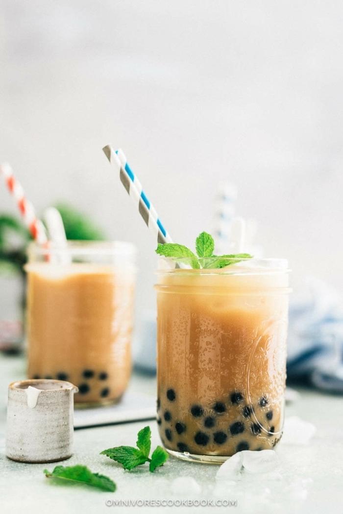bubble tea selber machen, boba tea mit kakao, schritt für schritt zubereitung