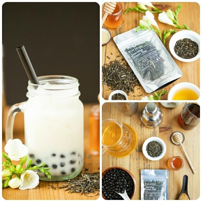 bubble tea selber machen, rezept mit jasmin und honig, gesundes sommergetränk