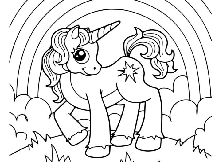 regenbogen unicorn ausmalbilder einhorn - coloring and drawing