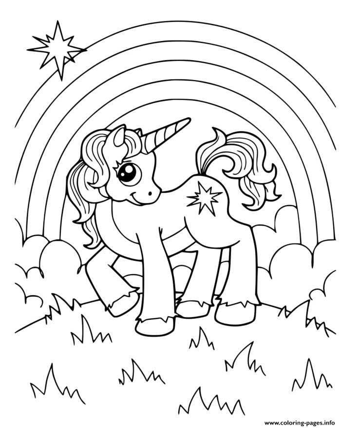 einhorn bilder, ausmalbilder unicorn, großer regenbogen, wolken und sternen