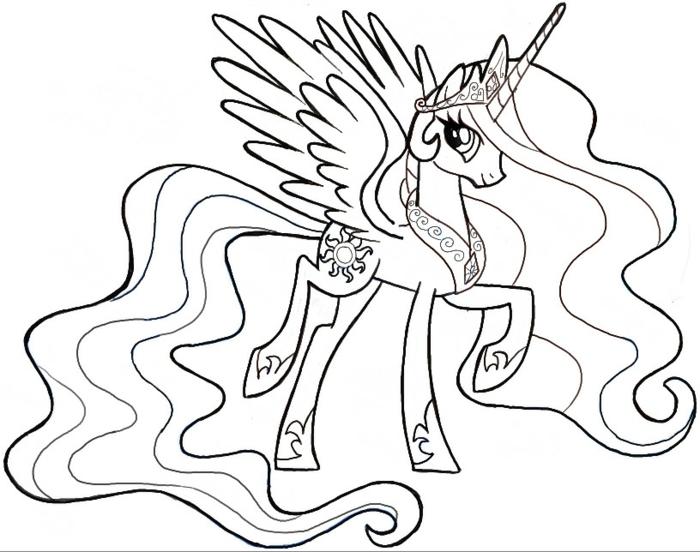 einhorn bilder, unicorn prinzessin celestia, lange mähne und schwanz, krone