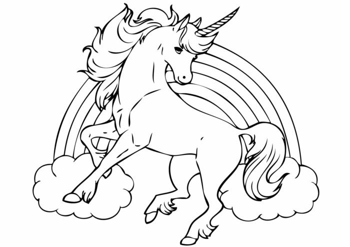 einhorn bilder zum ausmalen, fabeltier mit regenbogen und wolken, unicorn