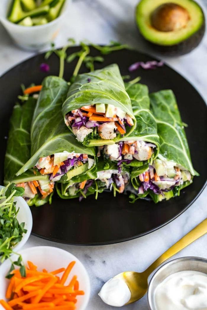 kohlenhydratarme ernährung, frühlingsrollen mit gemüse, low carb rezpte, abendessen