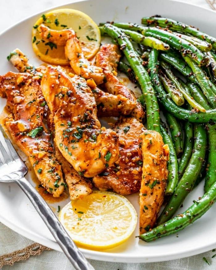 low carb high protein rezepte, hänchenbrust mit zitronen und grünen bohnen