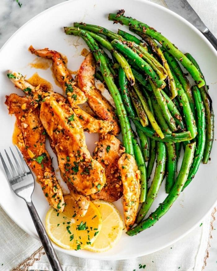 low carb high protein rezepte, schnelles abendessen, grüne bohnen